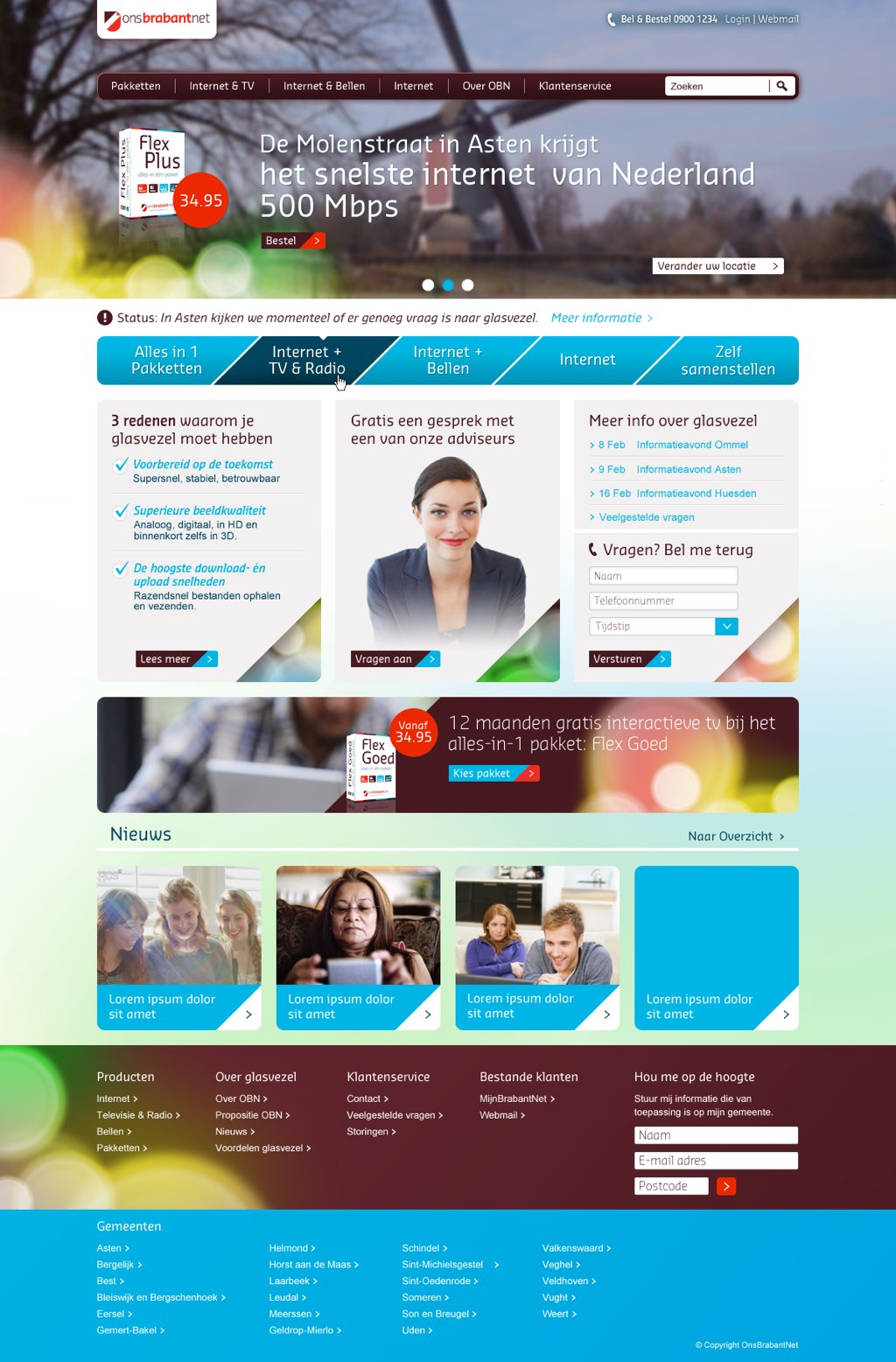 Afbeelding 2 van 11 - OnsBrabantNet re-design webshop - De oude homepage