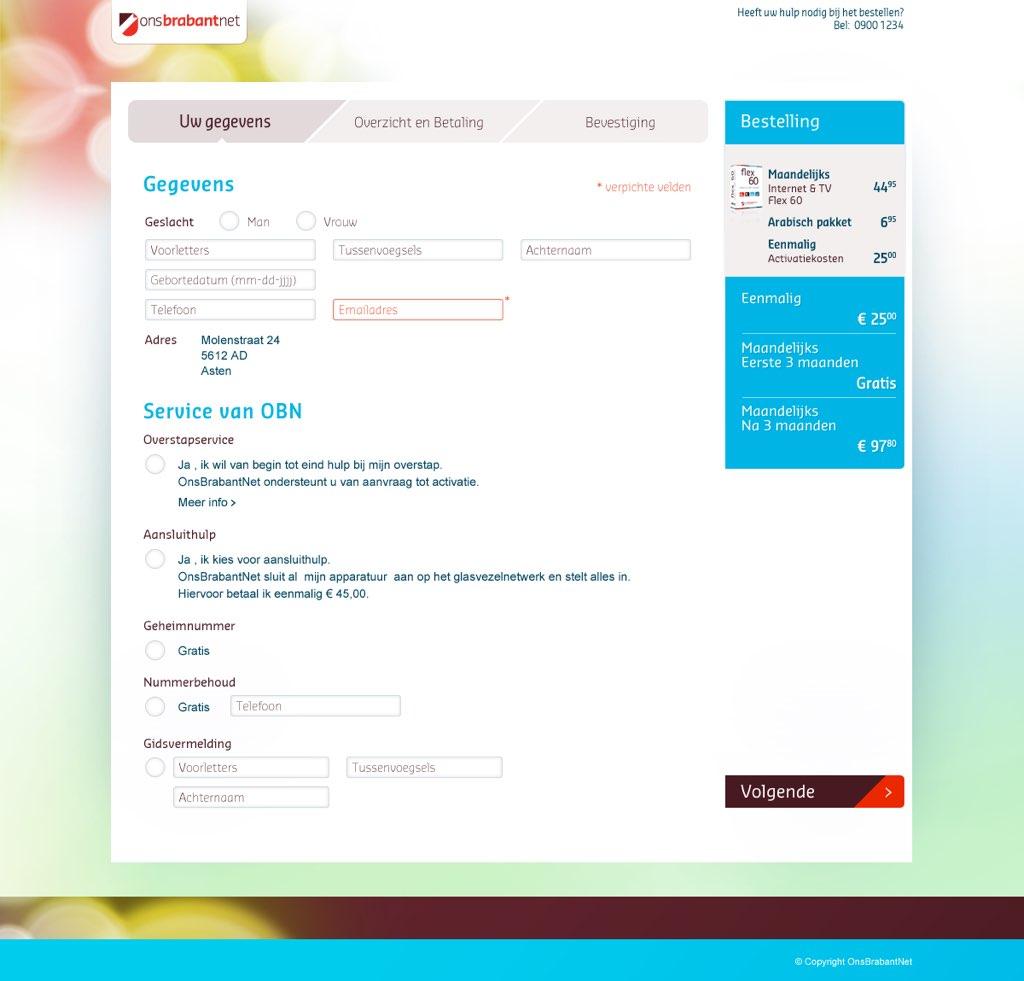 Afbeelding 4 van 11 - OnsBrabantNet re-design webshop - De oude Checkout pagina met stappenplan