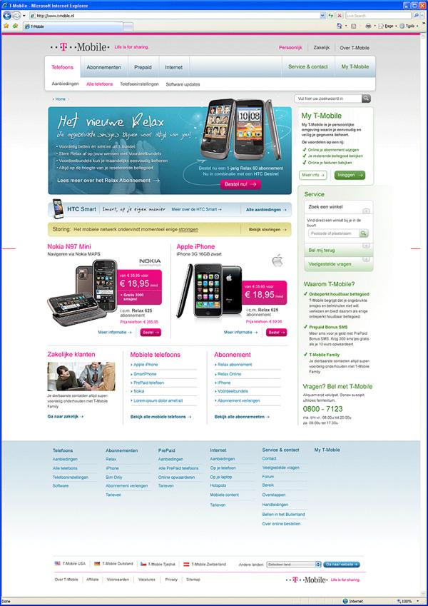 Afbeelding 1 van 9 - T-Mobile.nl re-design webshop - Homepage nieuwe stijl - variant 1