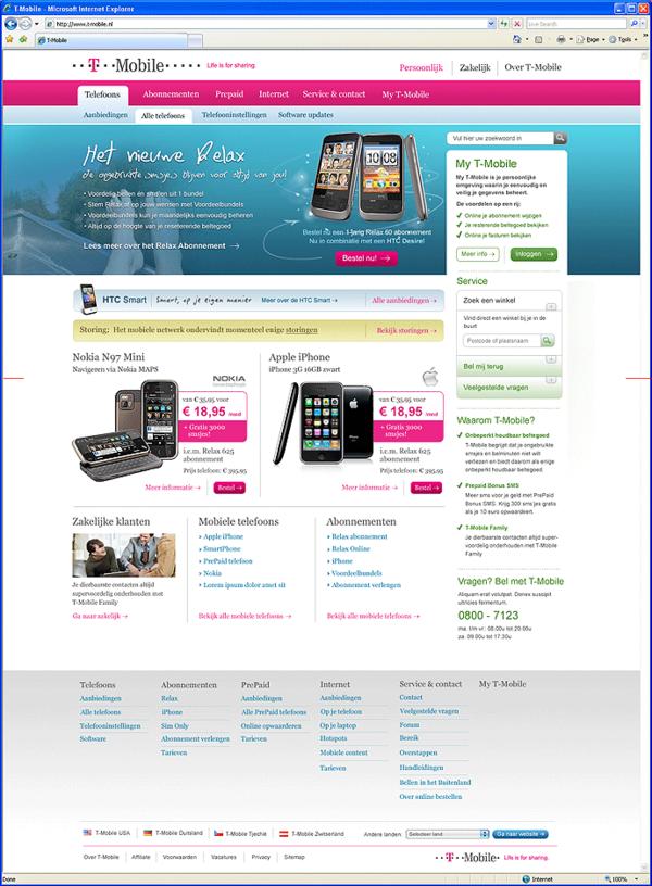 Afbeelding 2 van 9 - T-Mobile.nl re-design webshop - Homepage nieuwe stijl - variant 2