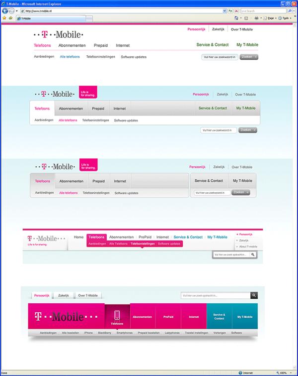Afbeelding 4 van 9 - T-Mobile.nl re-design webshop - Onderzoek naar design navigatie 2