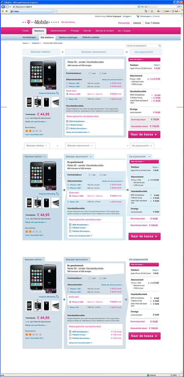 Afbeelding 5 van 9 - T-Mobile.nl re-design webshop - Varianten Product Detail Pagina mobiele telefoon