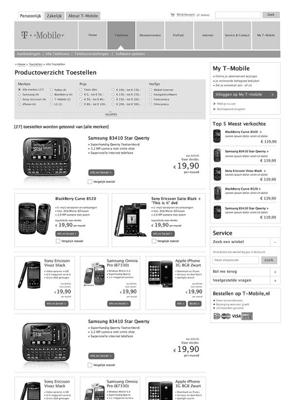 Afbeelding 8 van 9 - T-Mobile.nl re-design webshop - Uitgebreide wireframes 2