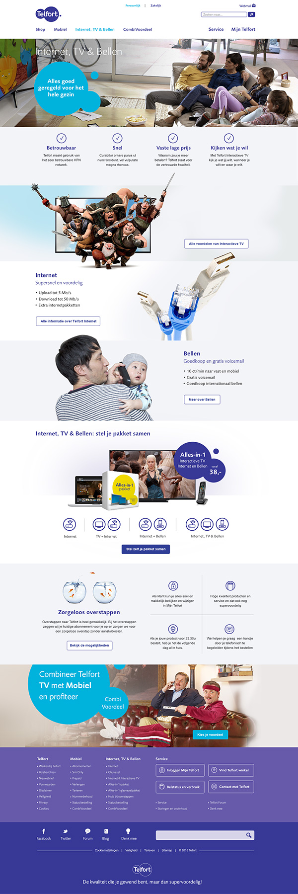 Afbeelding 1 van 4 - Telfort webshop pagina's re-design - 'Internet, tv en bellen'-homepage