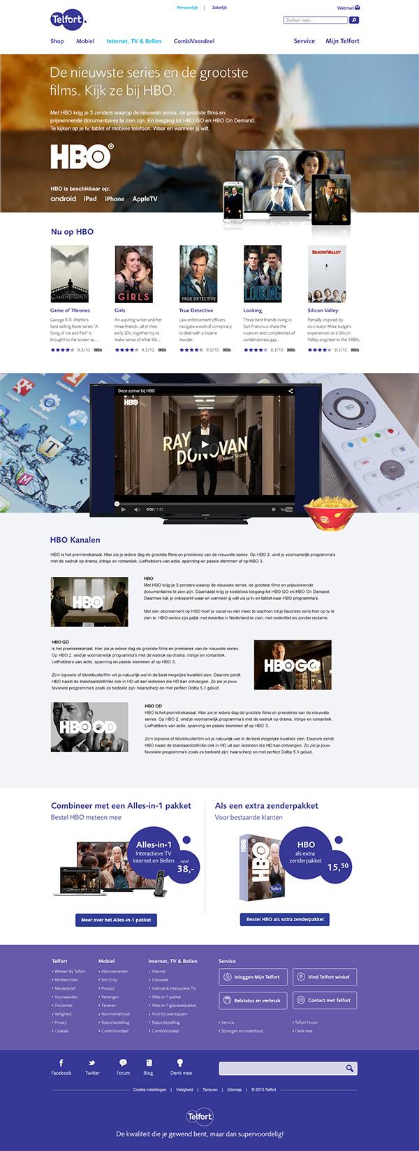 Afbeelding 1 van 4 - Telfort webshop pagina's re-design - HBO pagina