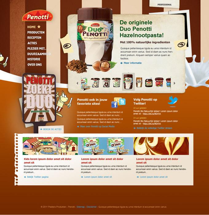 Afbeelding 1 van 3 - Re-design Duo Penotti promotie website Penotti.nl - in opdracht van reclamebureau Superrebel - 1