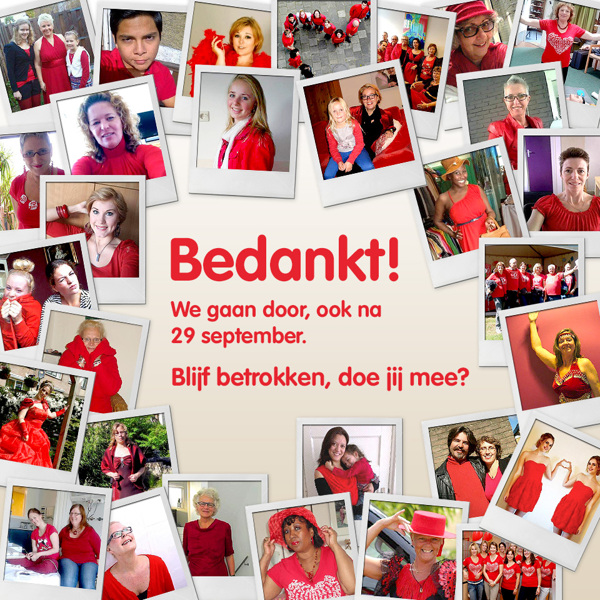 Afbeelding 6 van 6 - Hartstichting / Dress Red Day Social Media Facebook Post 'Bedankt we gaan door na 29 september'