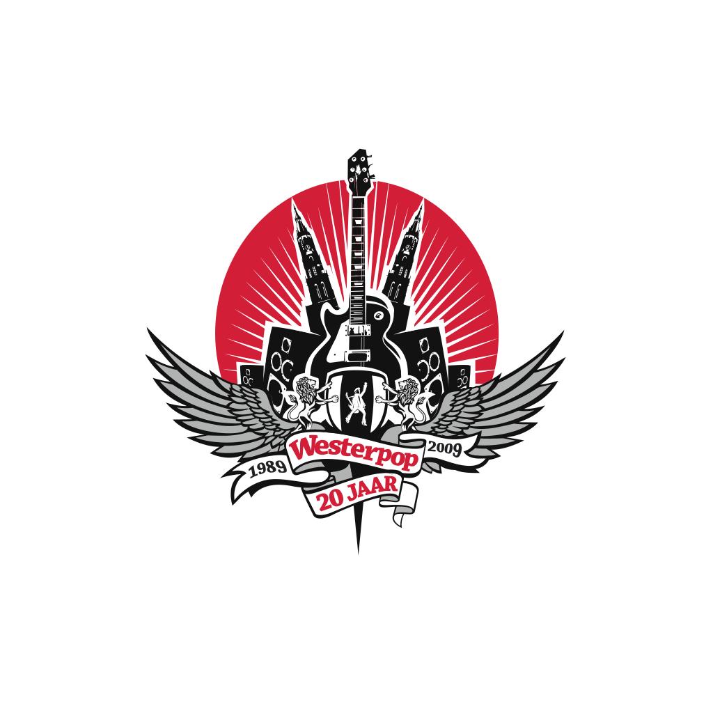 Logo ontwerp Westerpop 20 jarige jubileum van het gratis (rock)muziekfestival in Delft
