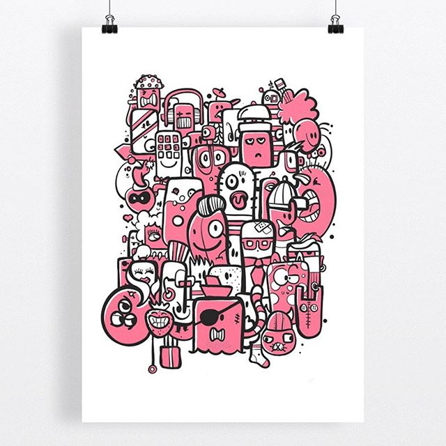 Especially for Valentines Day, a pink version of my illustration 'Bunch of Weirdos'. Available in my webshop (link in bio) as limited edition print, printed on heavy luxury Hahnemuhle 308grs paper: €99,-.