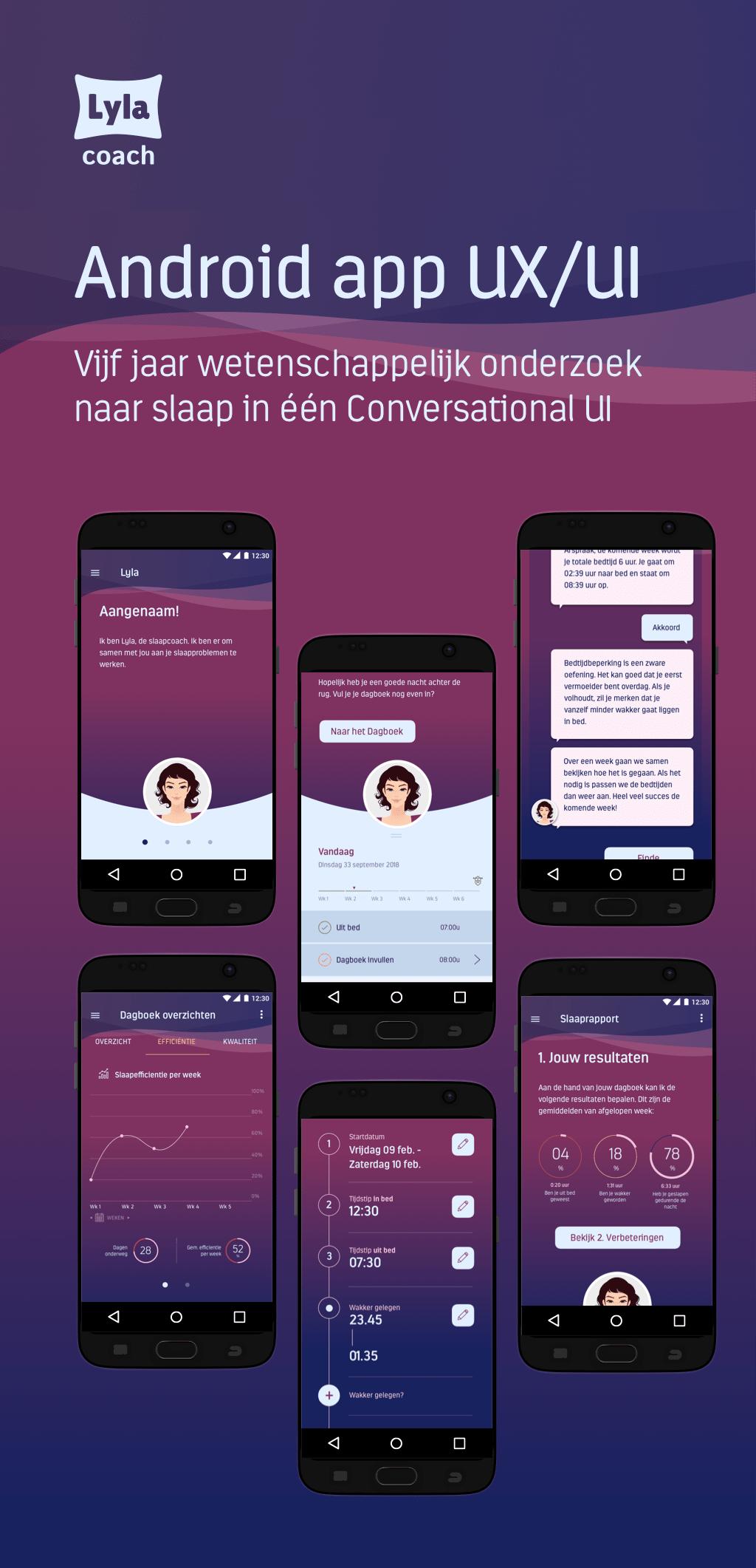 Afb 1 van 3 - Conversational UI Design voor Lyla Coach - Een app die met behulp van een Virtual Coach jouw slaapproblemen aanpakt en oplossingen aandraagt - User Experience Design (UX) en User Interface Design (UI)