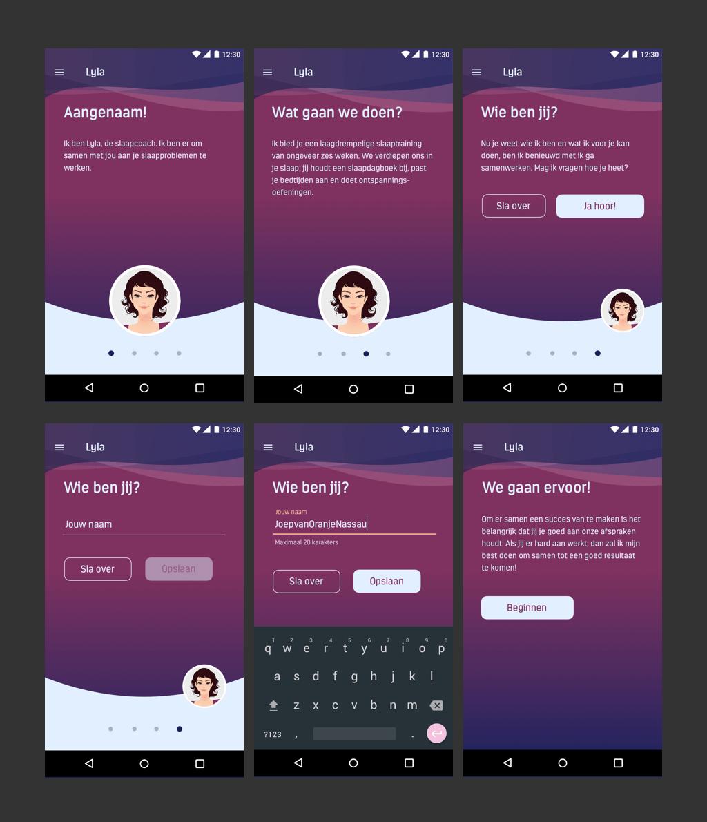Afb 2 van 3 - Conversational UI Design voor Lyla Coach - Een app die met behulp van een Virtual Coach jouw slaapproblemen aanpakt en oplossingen aandraagt - User Experience Design (UX) en User Interface Design (UI)