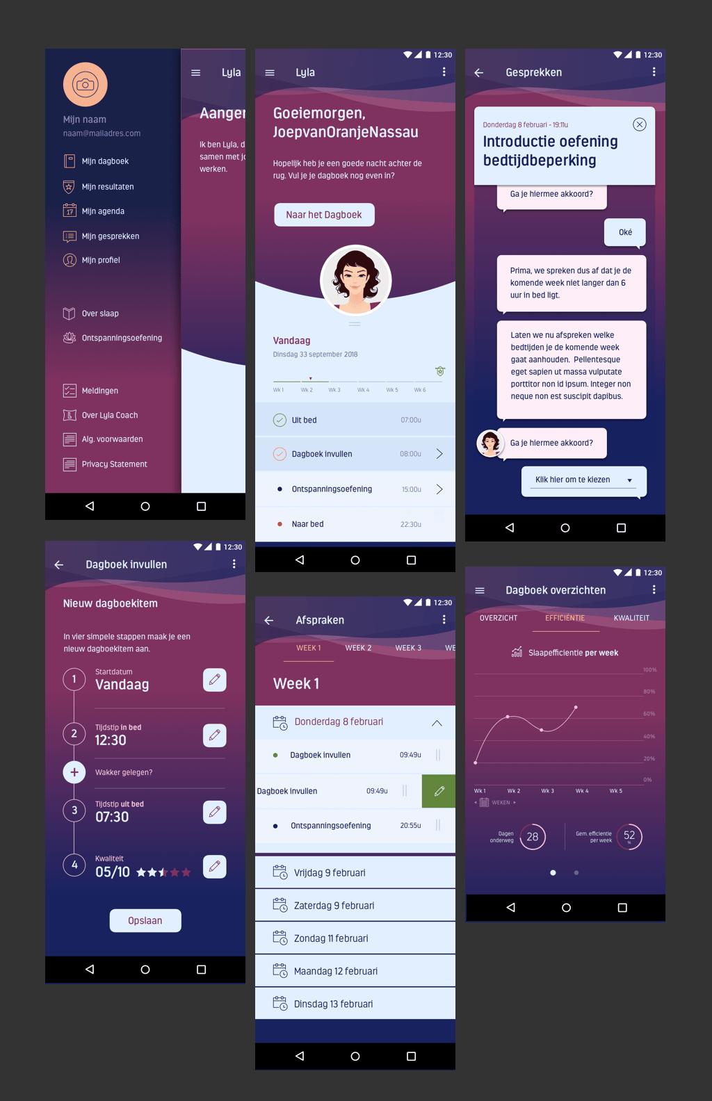 Afb 3 van 3 - Conversational UI Design voor Lyla Coach - Een app die met behulp van een Virtual Coach jouw slaapproblemen aanpakt en oplossingen aandraagt - User Experience Design (UX) en User Interface Design (UI)