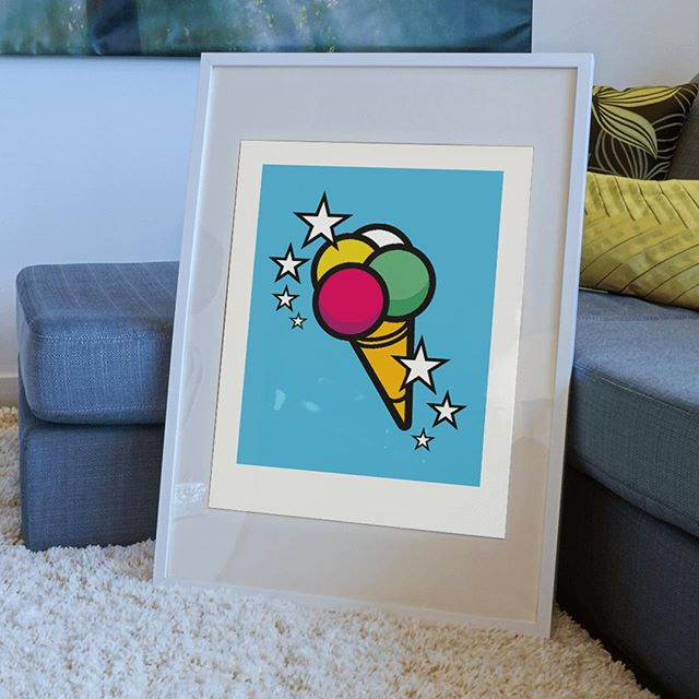 "Nobody likes a boring wall! Add some sun to your interior with this limited edition print of iconic illustration 'Ice-cream Popsicle'. Now available in the Mr. Upside webshop (link in bio).⠀ .⠀ The bright colours printed on luxury, heavy-weight Hahnemuhle 308gr paper make it the perfect gift. Delivered to you door, signed, numbered, with a unique embossed Mr. Upside seal, stickers and a Certificate of Authenticity.⠀ .⠀ Specifications:⠀ * Price: €99 / $110,99⠀ * Limited run of 35⠀ * Paper size: 426x600mm / 16,7"" x 23,6"" (A2)⠀ * Signed⠀ * Numbered⠀ * Embossed by hand with unique Mr. Upside seal⠀ * With each order a personal note is included⠀ * Certificate of Authenticity⠀ * Free shipping in the Netherlands"