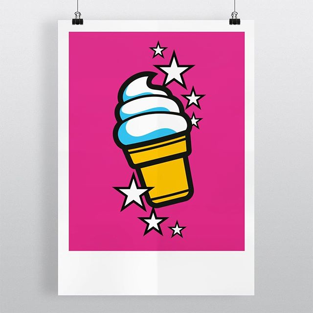 "Nobody likes a boring wall! Add some sun to your interior with this limited edition print of iconic illustration 'Ice-cream Soft'. Now available in the Mr. Upside webshop (link in bio).⠀ .⠀ The bright colours printed on luxury, heavy-weight Hahnemuhle 308gr paper make it the perfect gift. Delivered to you door, signed, numbered, with a unique embossed Mr. Upside seal, stickers and a Certificate of Authenticity.⠀ .⠀ Specifications: ⠀ * Price: €99 / $110,99⠀ * Limited run of 35.⠀ * Paper size: 426x600mm / 16,7"" x 23,6"" (A2) ⠀ * Signed⠀ * Numbered⠀ * Embossed by hand with unique Mr. Upside seal⠀ * With each order a personal note is included⠀ * Certificate of Authenticity ⠀ * Free shipping in the Netherlands"