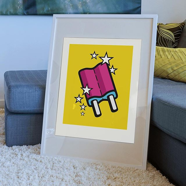 "Nobody likes a boring wall! Add some sun to your interior with this limited edition print of iconic illustration 'Ice-cream Popsicle'. Now available in the Mr. Upside webshop (link in bio).⠀ .⠀ The bright colours printed on luxury, heavy-weight Hahnemuhle 308gr paper make it the perfect gift. Delivered to you door, signed, numbered, with a unique embossed Mr. Upside seal, stickers and a Certificate of Authenticity.⠀ .⠀ Specifications:⠀ * Price: €99 / $110,99 ⠀ * Limited run of 35.⠀ * Paper size: 426x600mm / 16,7"" x 23,6"" (A2)⠀ * Signed⠀ * Numbered⠀ * Embossed by hand with unique Mr. Upside seal⠀ * With each order a personal note is included⠀ * Certificate of Authenticity⠀ * Free shipping in the Netherlands"