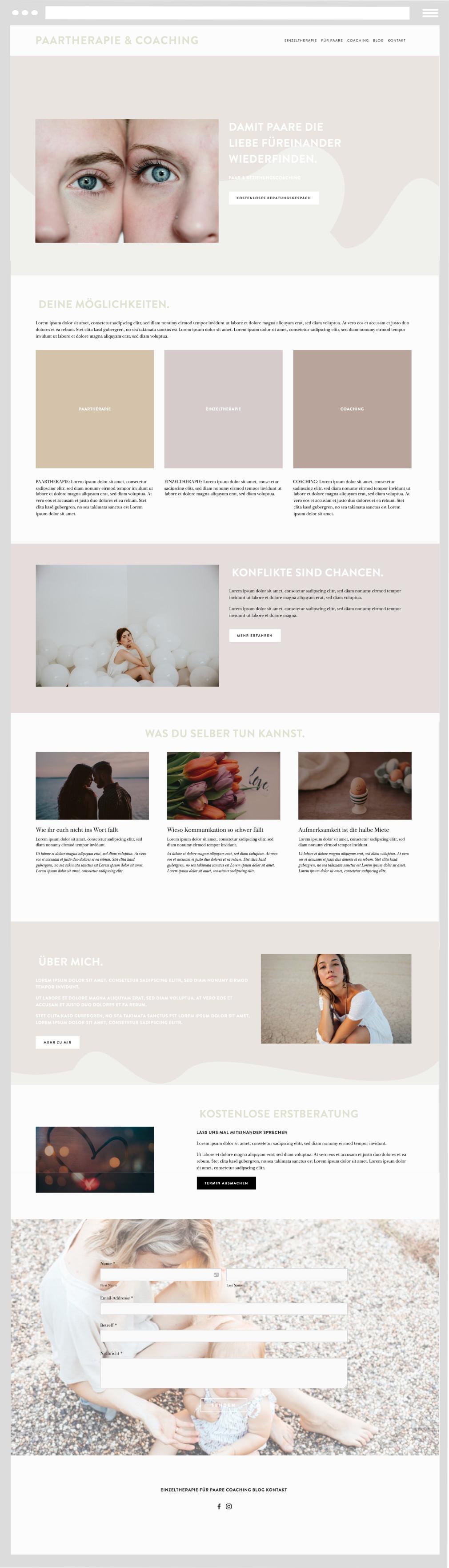 Ein Beispiel für eine Website vom website kiosk. Wir sind Squarespace Experten für Coaches, kreative Selbständige und Selbstständige in Heilberufen - Heilpraktiker.