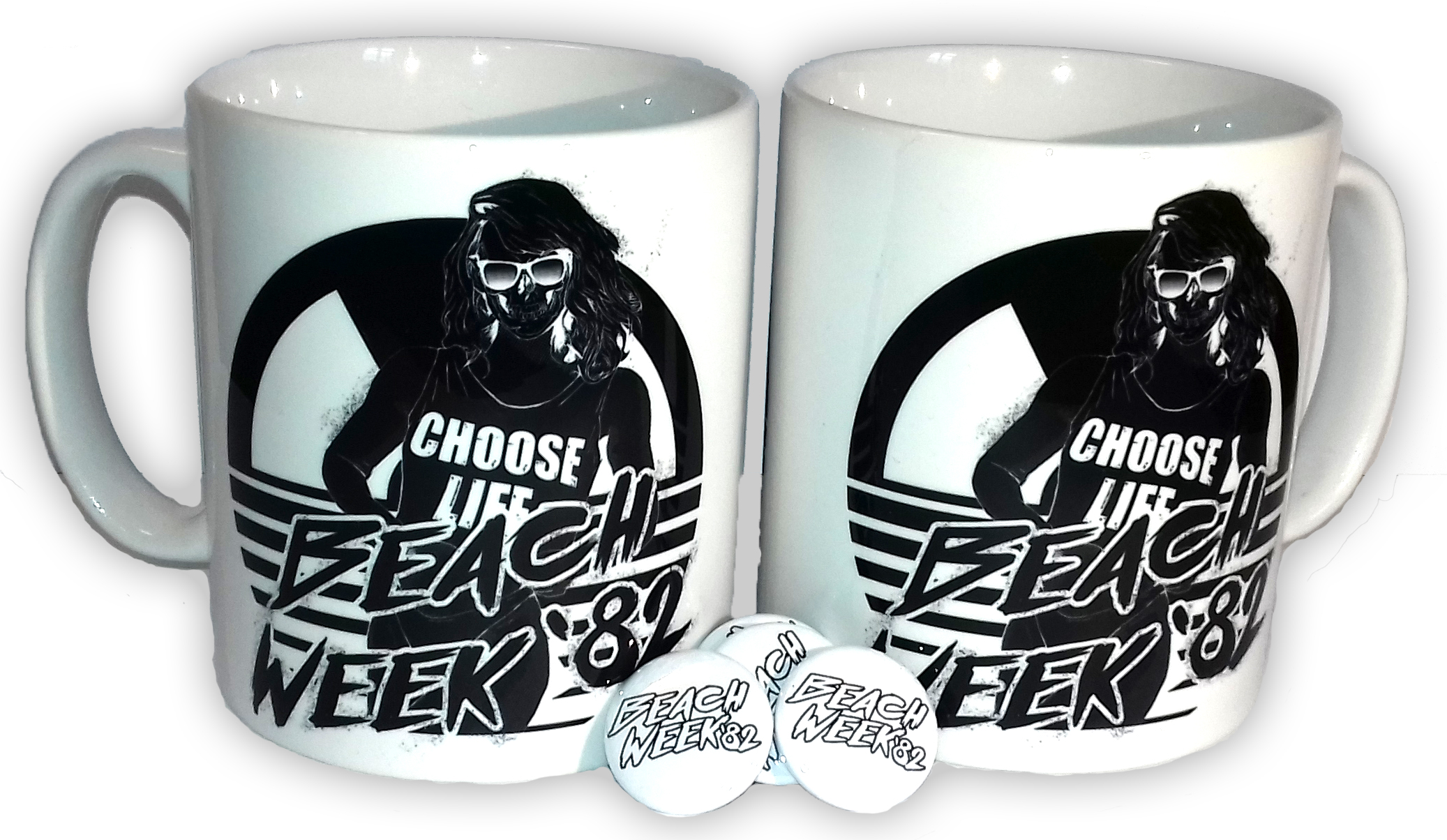 Personalised Printed Tea & Coffee Mugs And Badges - Beach Week '82