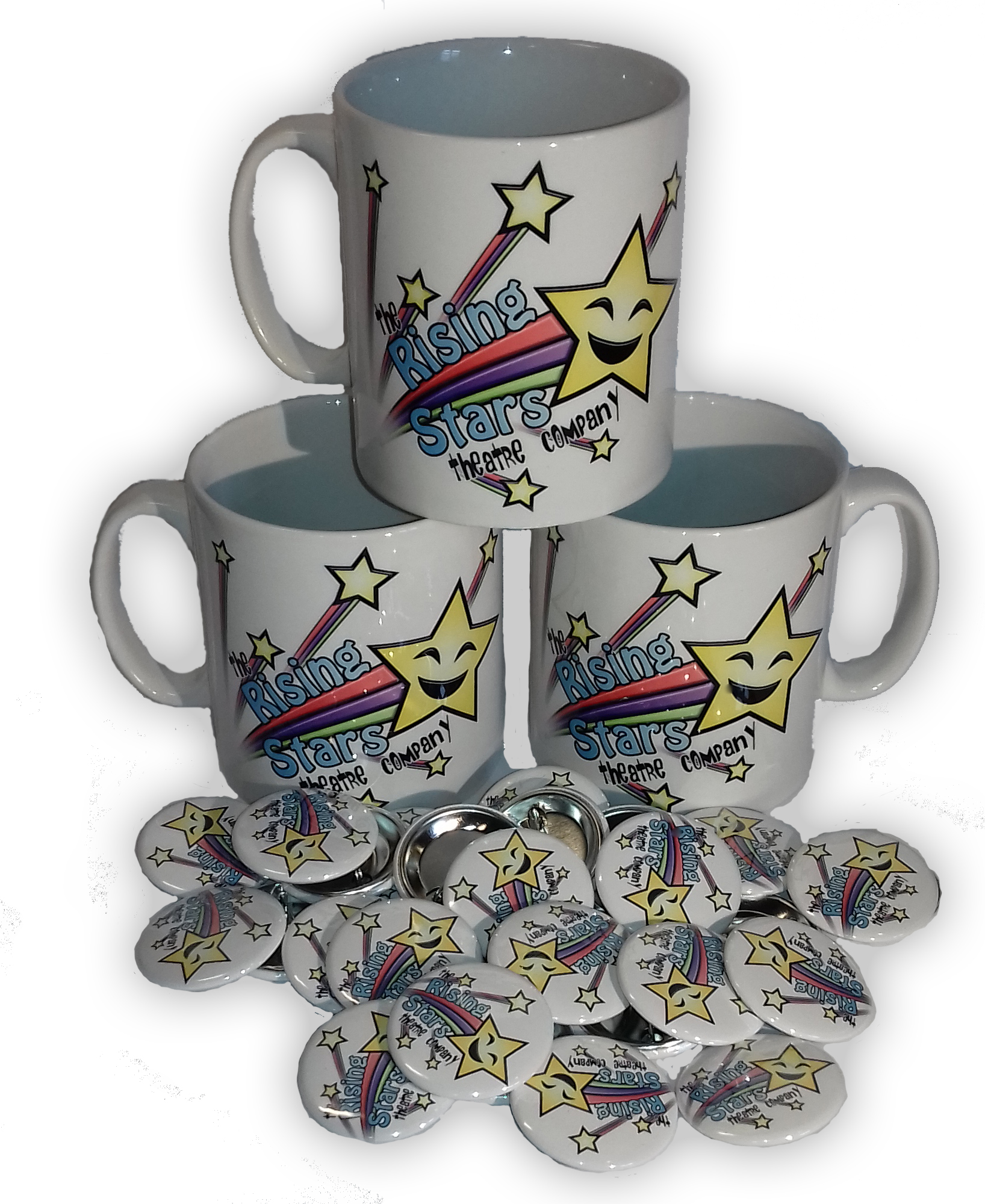 Custom Printed Tea & Coffee Mugs & Badges - Rising Stars