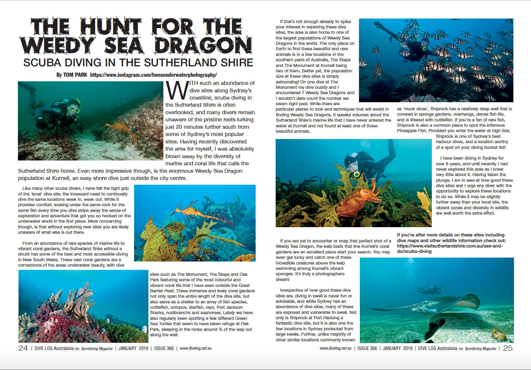 Publication in Dive Log Australasia Magazine - January 2019