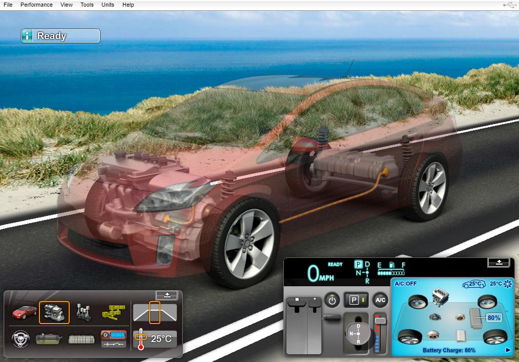 Hybrid Vehicle Lessons - Interactive Simulator
