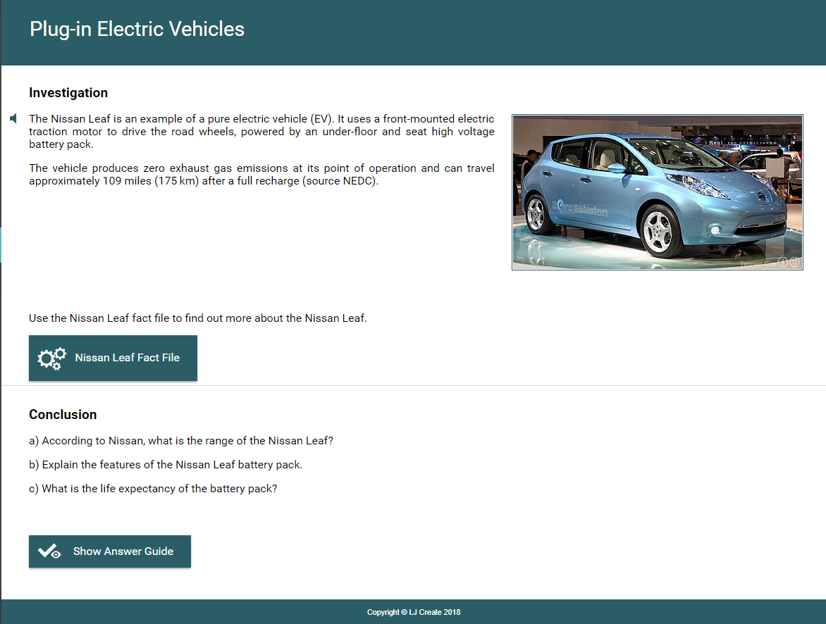 Hybrid Vehicle Lessons - Electric Vehicles Investigation Lesson
