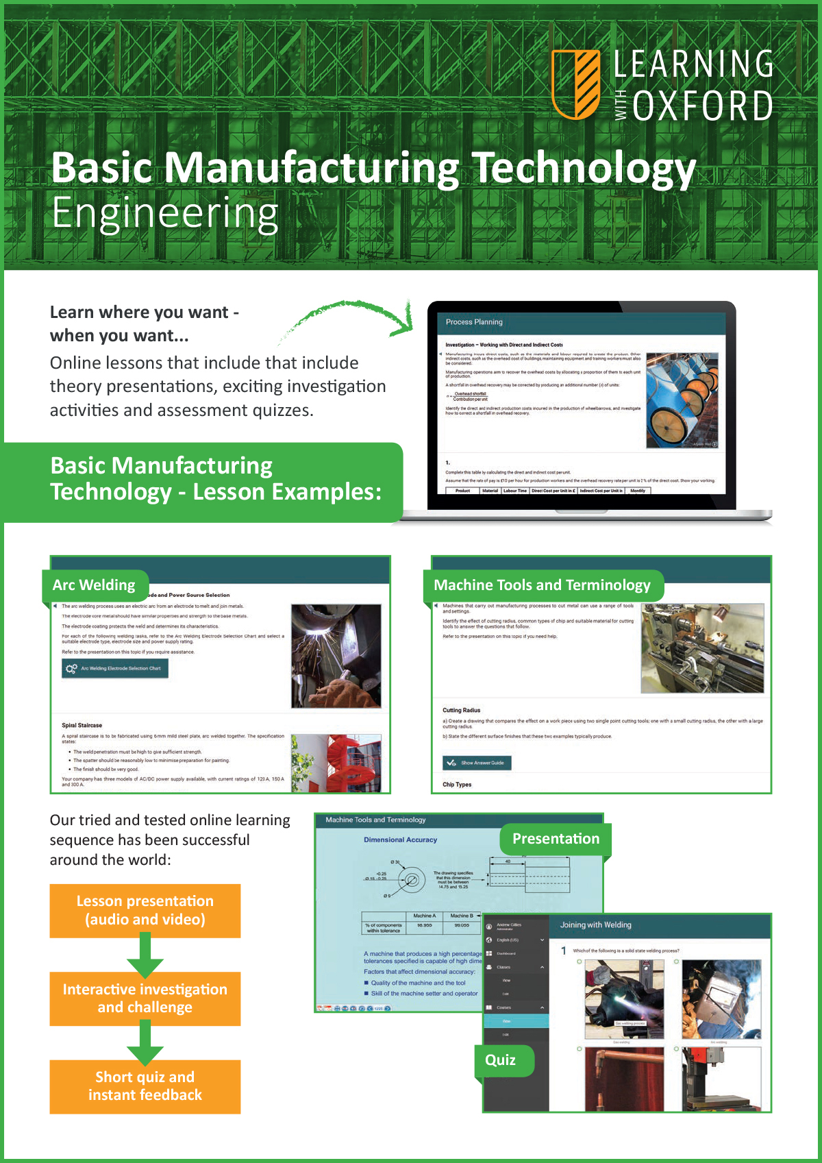 What lesson topics are covered with the licence? - Take a look at our Basic Manufacturing Technology InfoSheet to see a full topic listing.