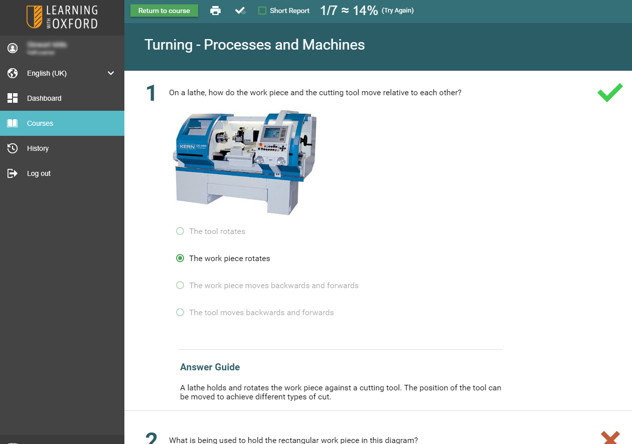 Manufacturing Skills STEM Software - Assessment Quiz