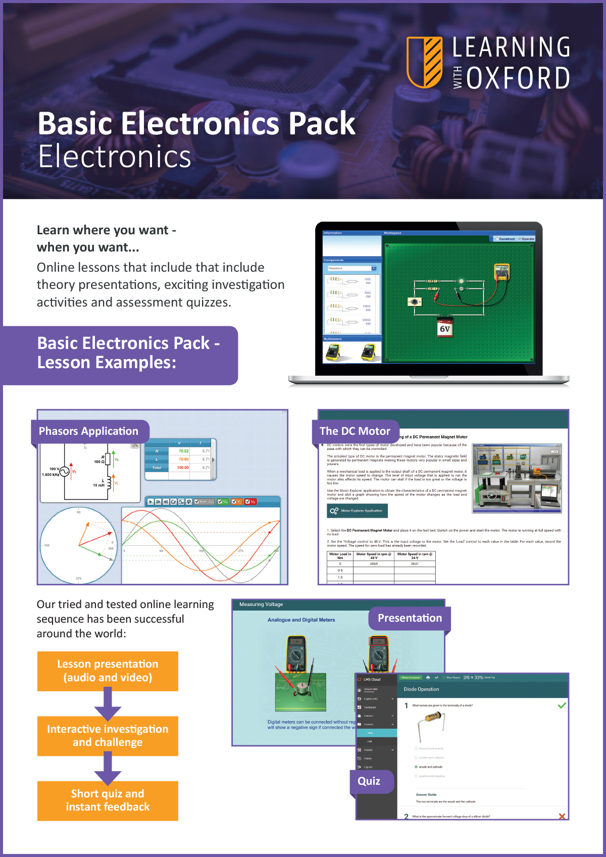 What lesson topics are covered with the licence? - Take a look at our Basic Electronics InfoSheet to see a full topic listing.