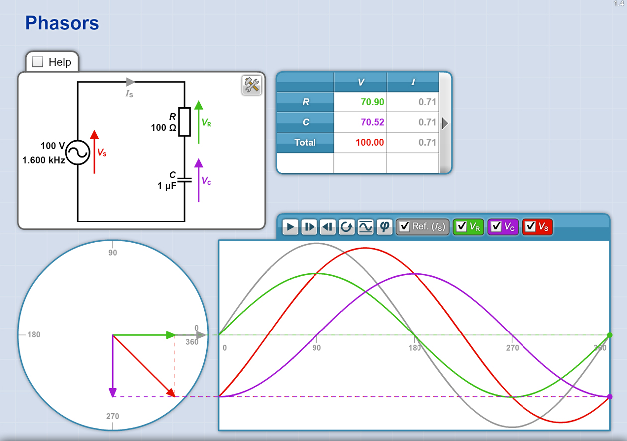 Electronics STEM Software - Phasors Explorer