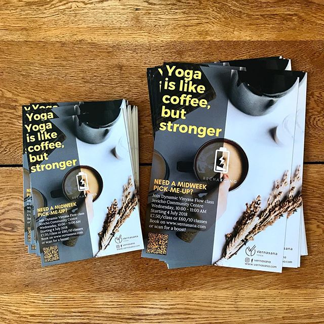 Just picked these up from the print shop! Right, time to go for a walk around town and start distributing 🏃🏻‍♀️📨 . Forgot to include an important piece of information tho... 🤦🏻‍♀️ Gonna need to add this with a sharpie Try FIRST CLASS FREE! 🤸🏻‍♀️✨💖 Share the fun, bring a friend! . #onmyhigh #coffeeanyone? #freeyoga #oxfordyoga #yogaclass #yogaoxford #vinyasa #yogateacher #instayoga #igyoga