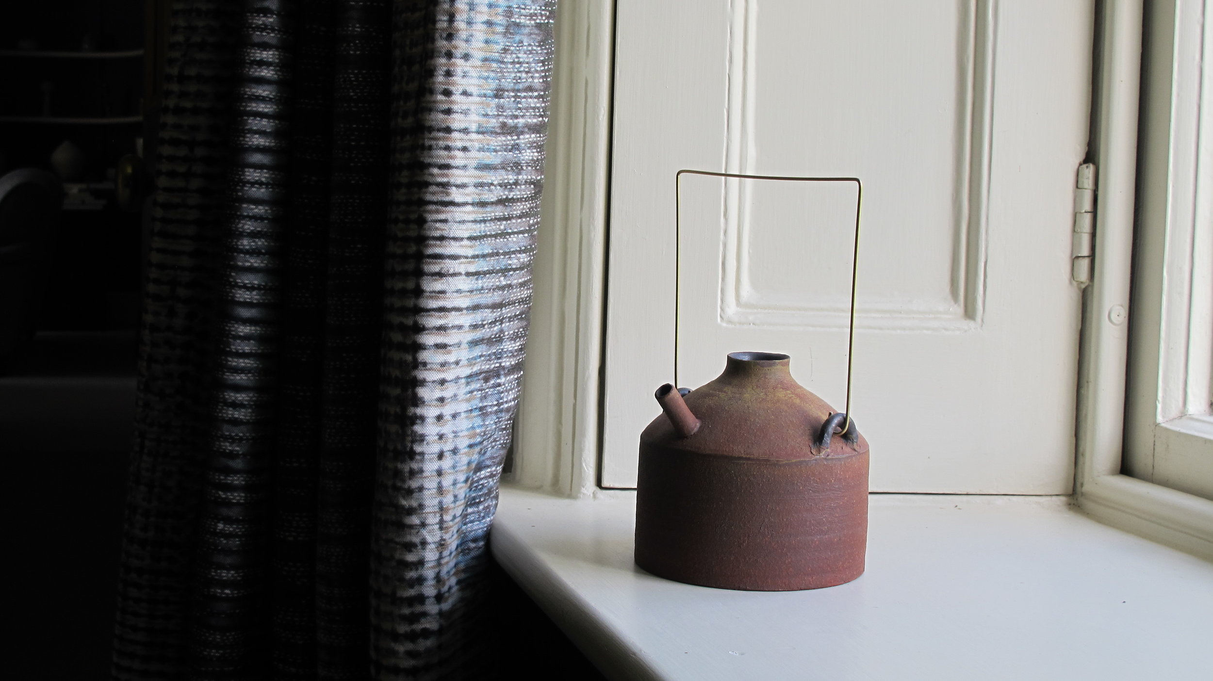 Vase with Metal Handle Red by T. Omura