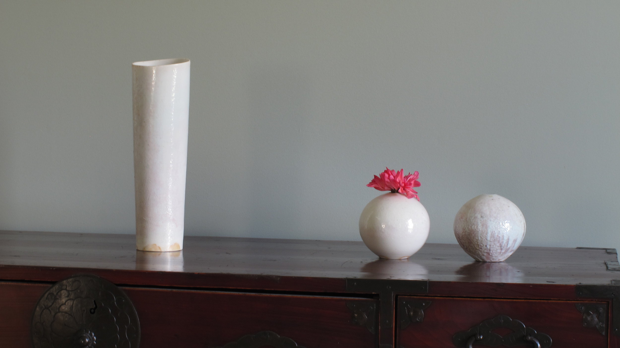 Wood Fired Porcelain Vases by T. Tabuchi