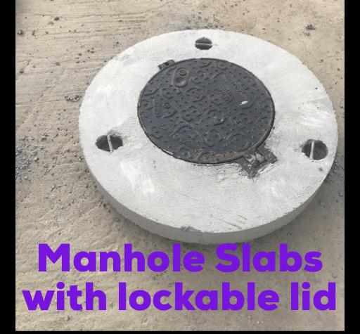 Round Manhole Slab with Lockable Lid