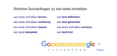 verwandte Suchanfragen über Google