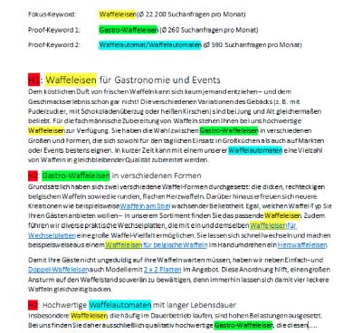Best Practice für die natürliche Verteilung des Haupt- und der Nebenkeywords im Text.