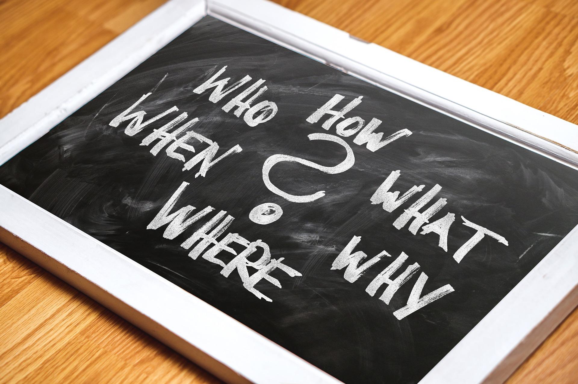 Die klassischen W-Fragen: Was? Wer? Wann? Wie? Wo? Warum?