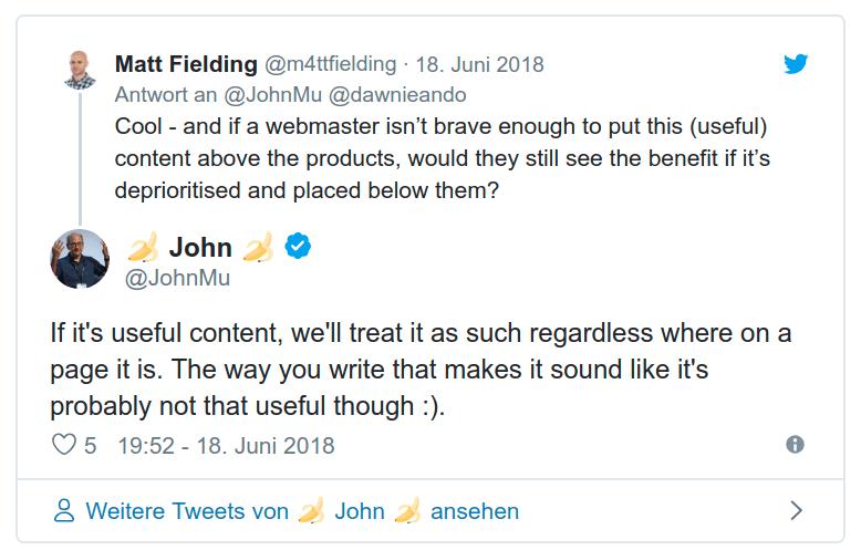 Googles John Mueller über hilfreichen Shop-Content auf Twitter: Klick aufs Bild, um zum Original-Tweet zu gelangen!