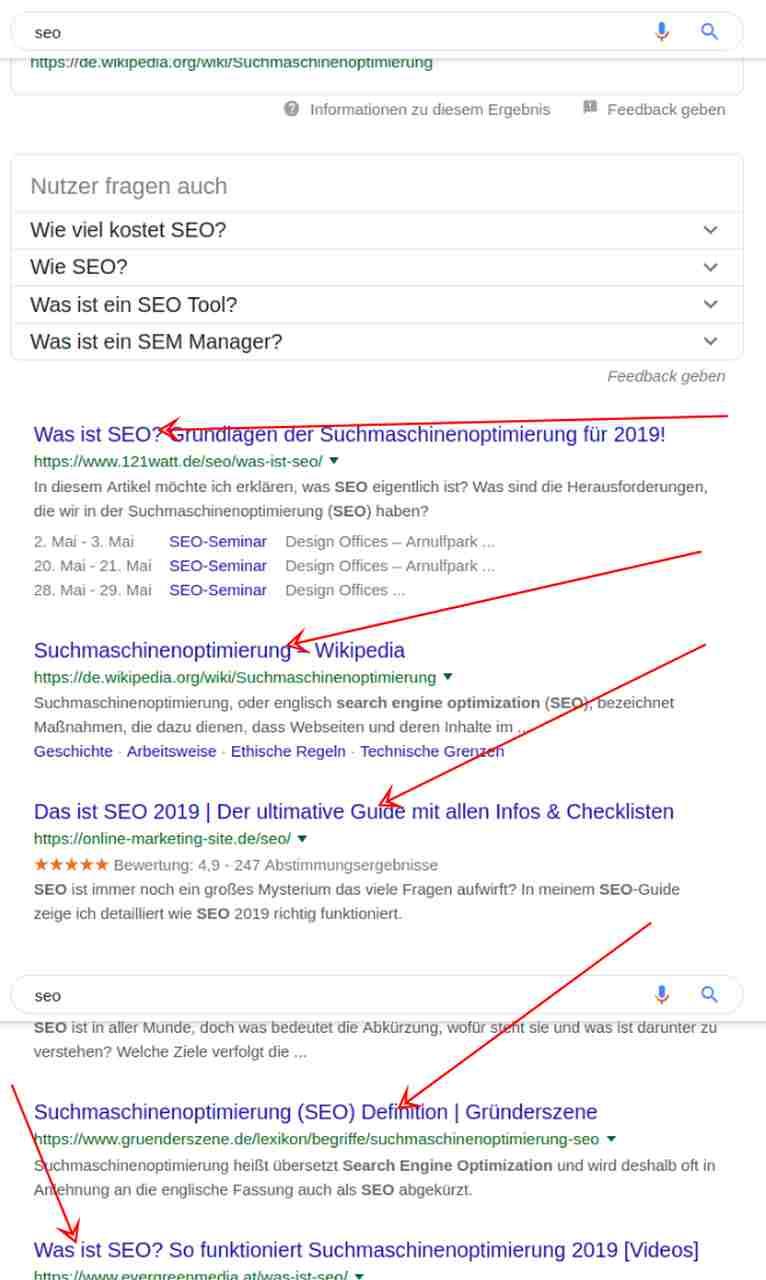 Google deutet generische Keywords als informational ein.