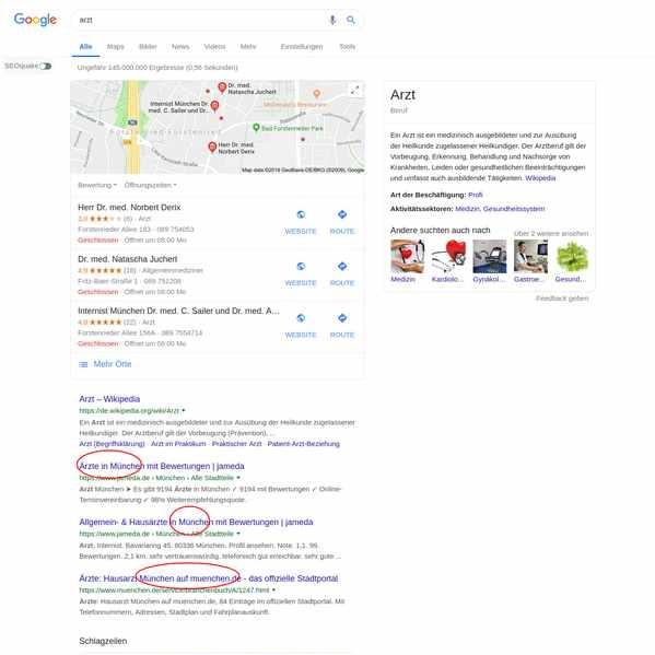 Beispiel für local Keywords, ganz oben: das Local Pack