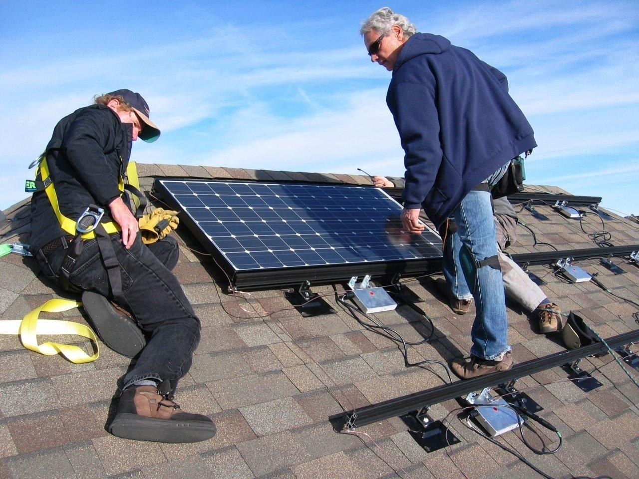 Larry instructing the author on his solar install -