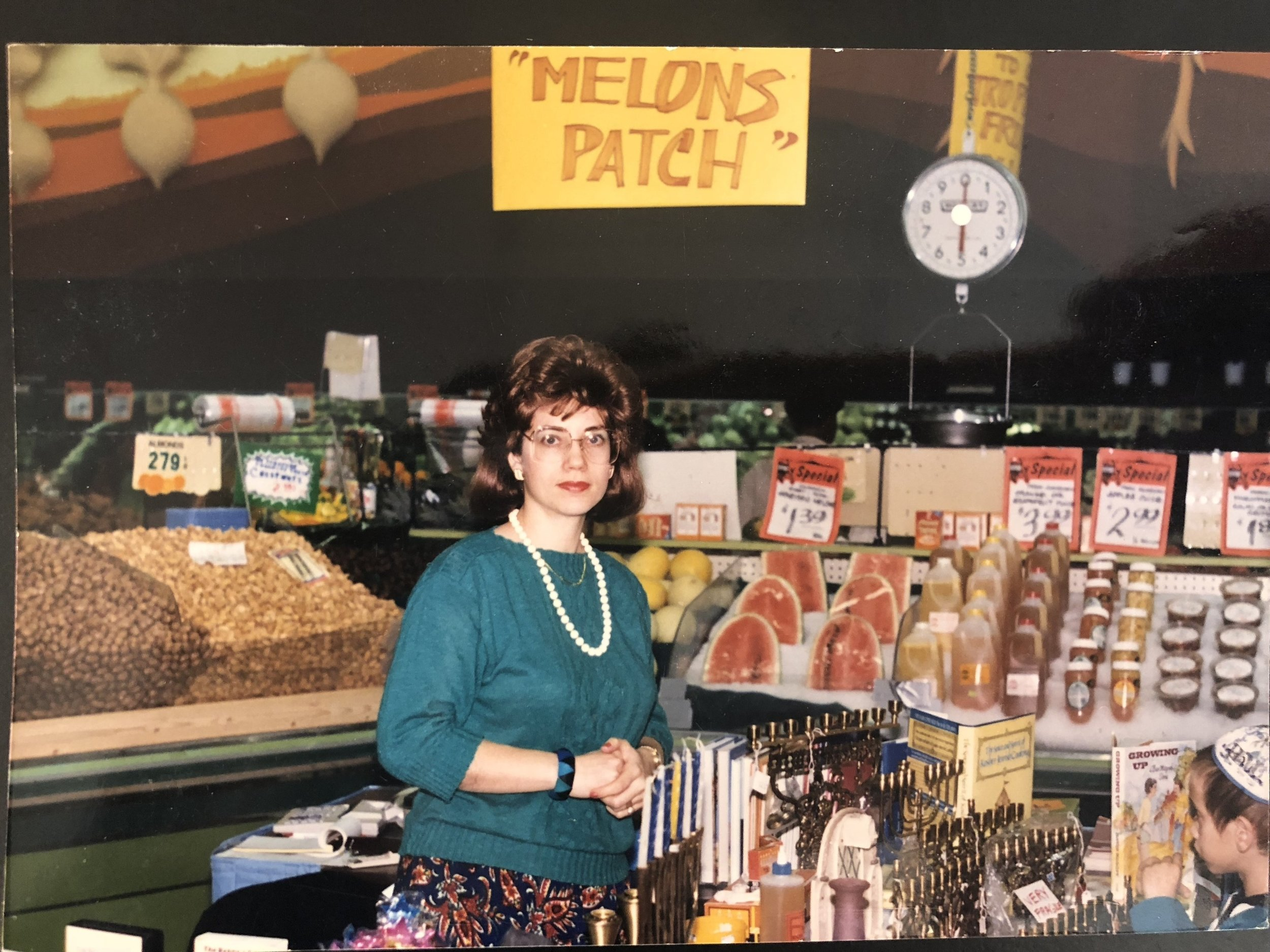"""Our founder, Shoshana Traxler, in the grocery store """"Jumbo"""" where it all began."""