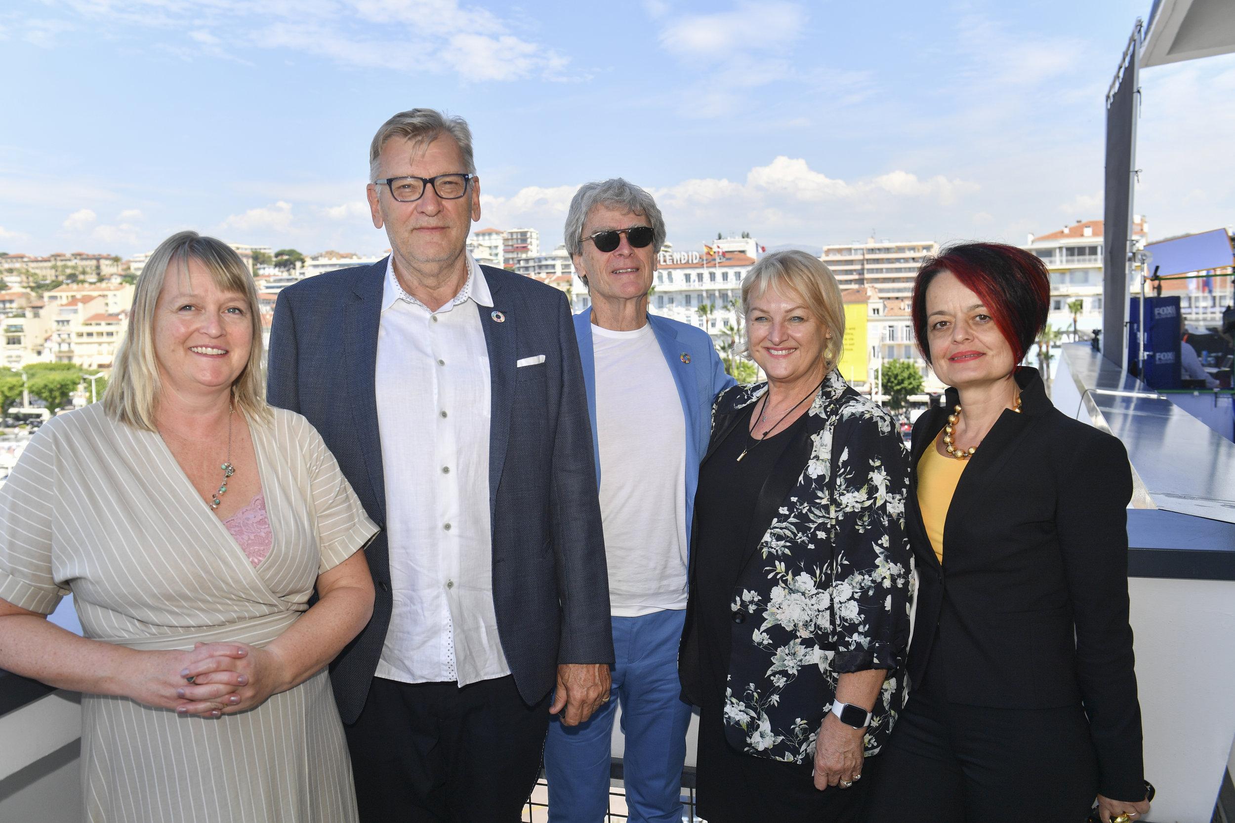 Corinne Woods (left), Terry Savage, Sir John Hegarty, Cheryl Wannell and WFP's Corinne Fleischer