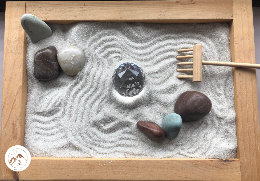 Our miniature zen garden. Serves as a reminder to go with what serves us and let go what does not. Takes courage but know that possibilities are endless!