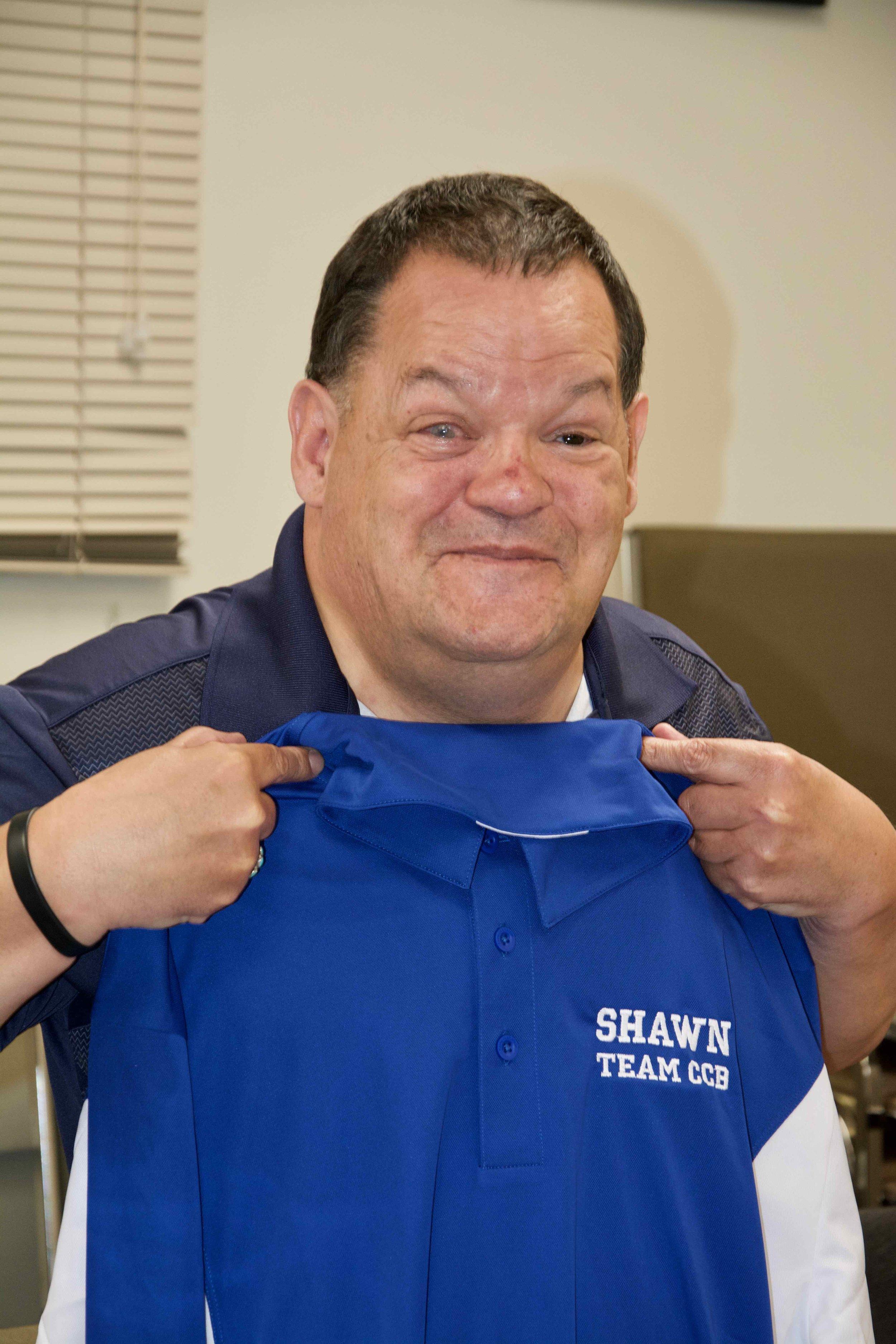 Shawn Johnson enjoying his new bowling shirt