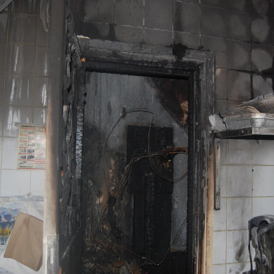 The Incident - This family Bangladeshi restaurant suffered a fire as a result of a water leak into the meter and mains cables. The resultant electrical sparks set a fire to thesurrounding materials. The restaurant suffered severe heat and smoke damage leaving it unsafe for use.