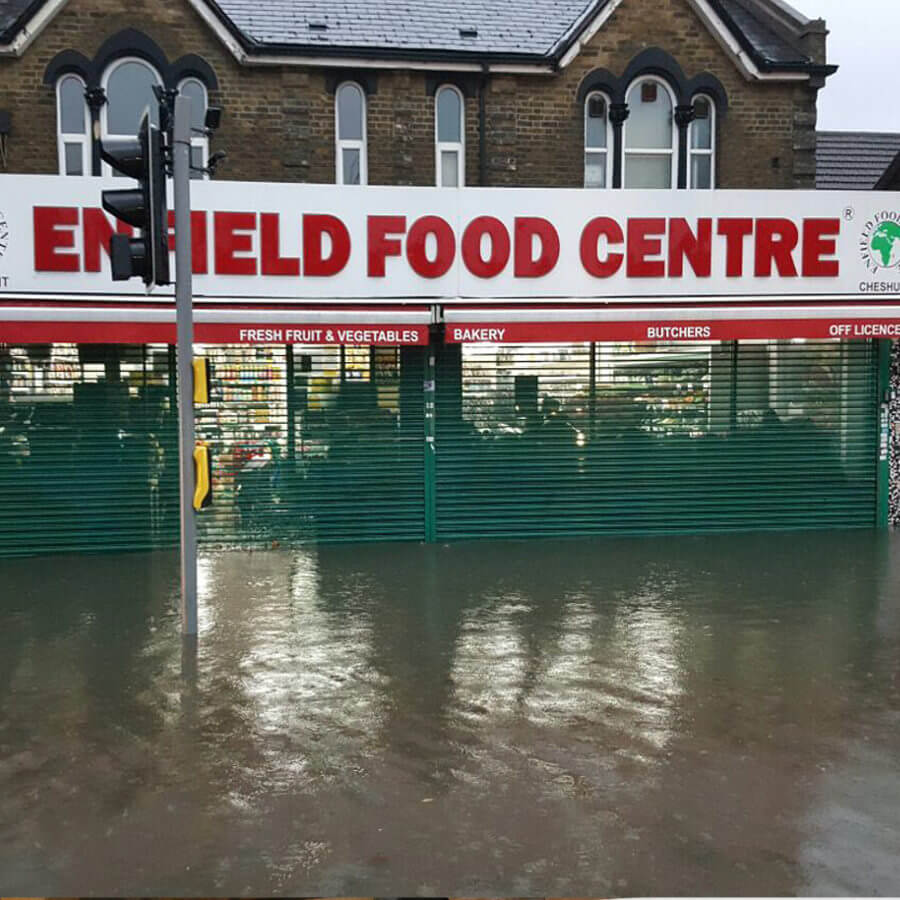 The Incident - Mr Yusuf suffered a flood at one of his branches in Cheshunt, Hertfordshire. The water was as a result of flash flooding and was over a meter high at its highest point. Most of the food stock and contents were severely damaged as was the floor & wall finishes, refrigeration display units and freezers.