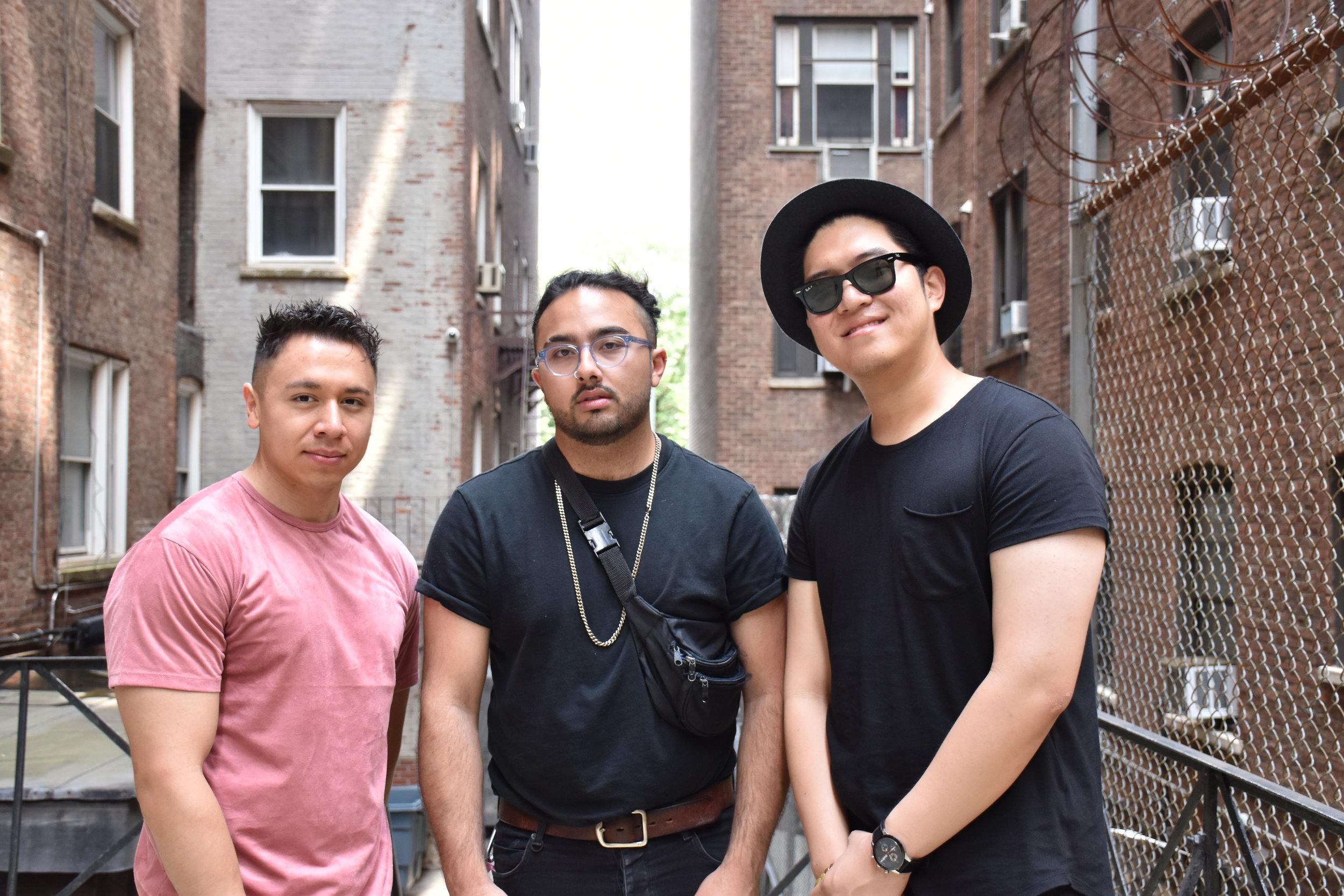 From left: Ruben Mejia, Peter Enriquez, and Paul JuBong Lee. Photo by Vivian Wang.