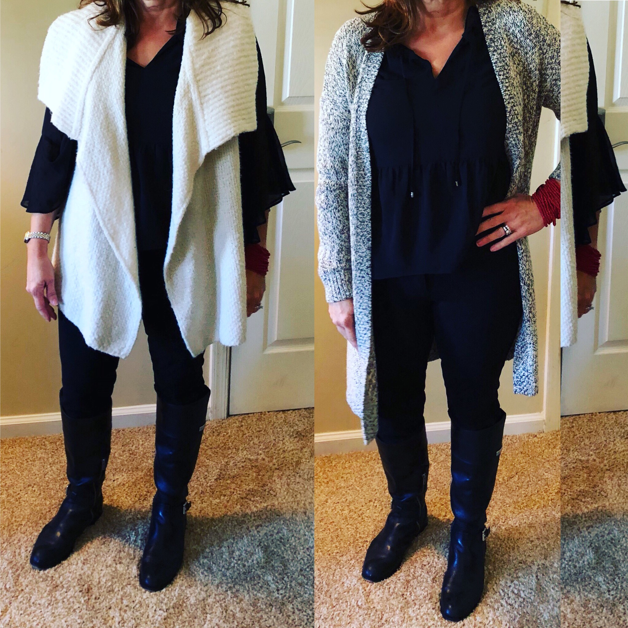 """She is 5'4"""", she has a medium sized frame. The photo on the left shows a long, bulkier sweater that works, BUT the sweater over powers her body. The proportion is not correct. The photo on the right shows a longer sweater, not as bulky and gives the appearance of her being taller."""