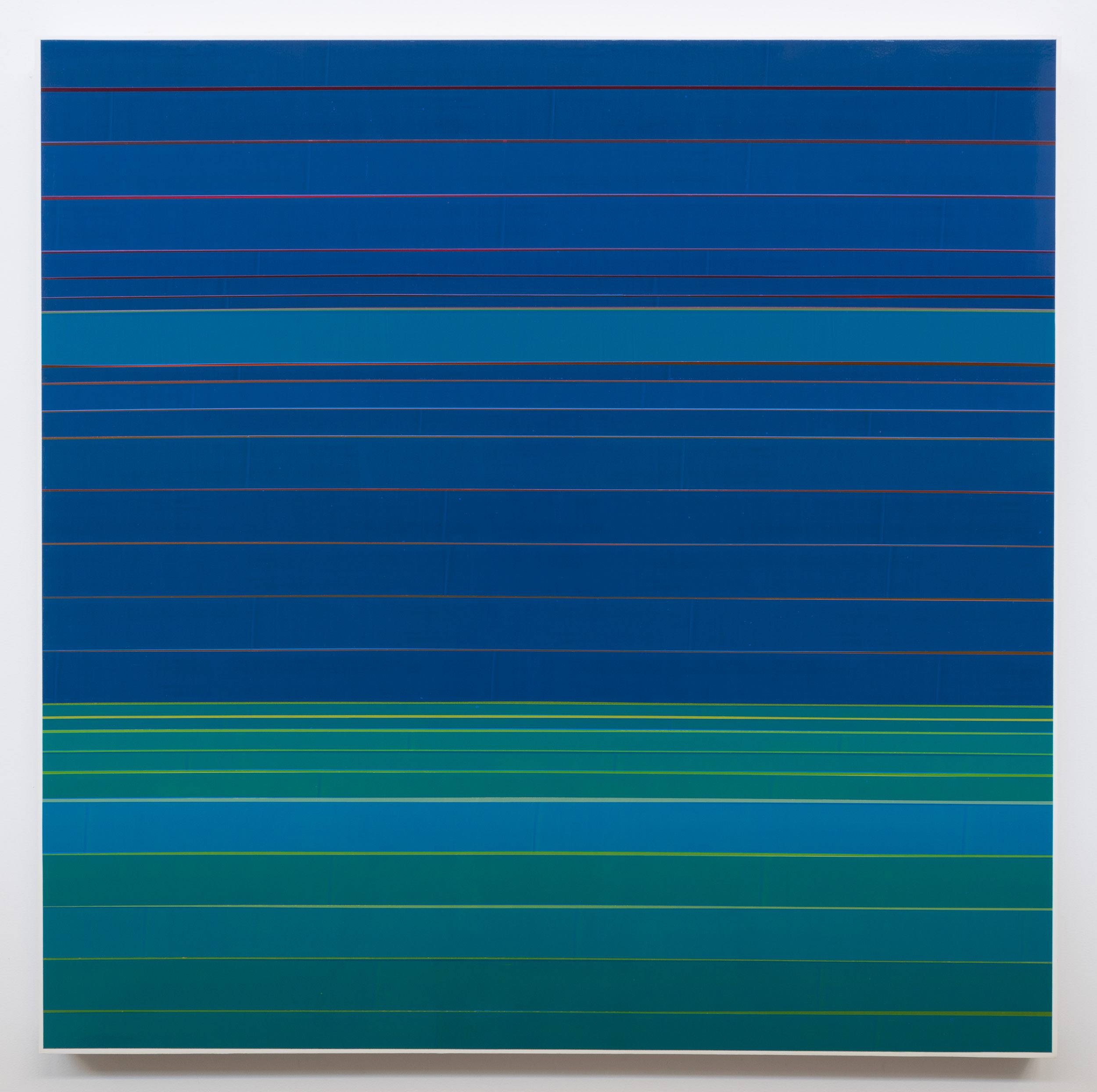 See it Swimming, 2017, semi-transparent tape on panel, 36 x 36 inches