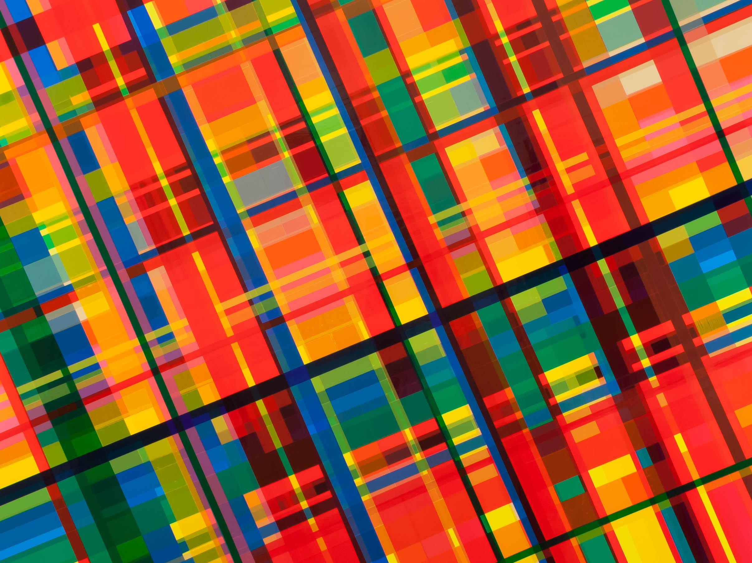 Nectarine Joys, 2012, semi-transparent tape on panel, 36 x 48 inches